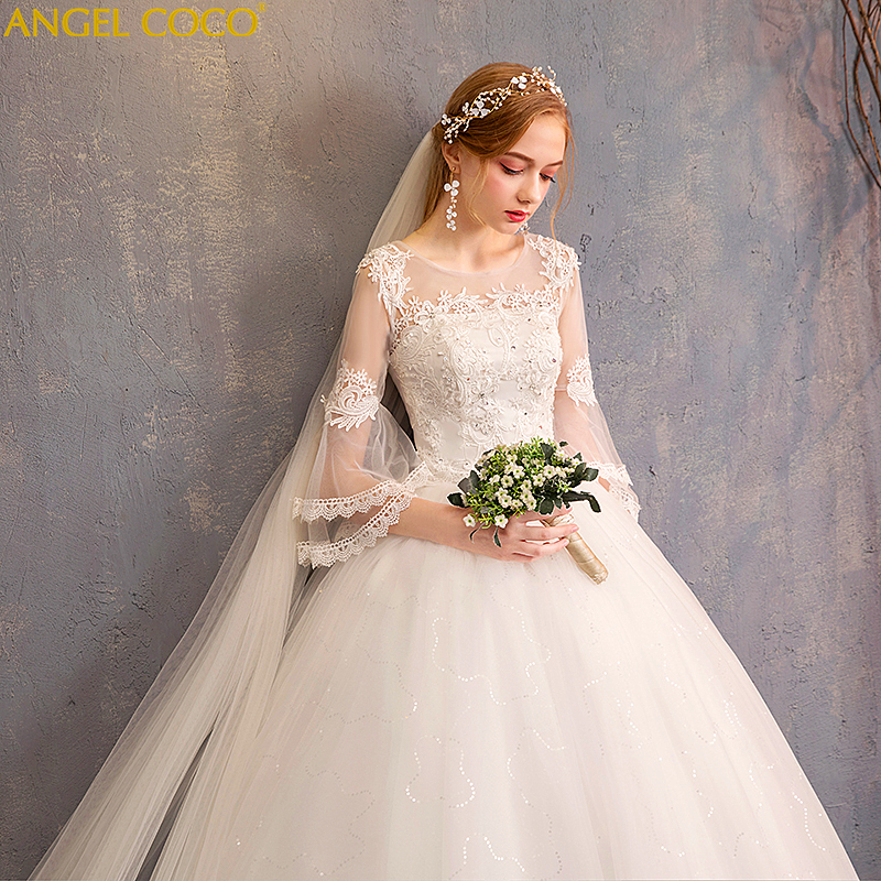 Cheap Wedding Gowns With Sleeves: Cheap Wedding Dress Winter Long Sleeves Floor Length White