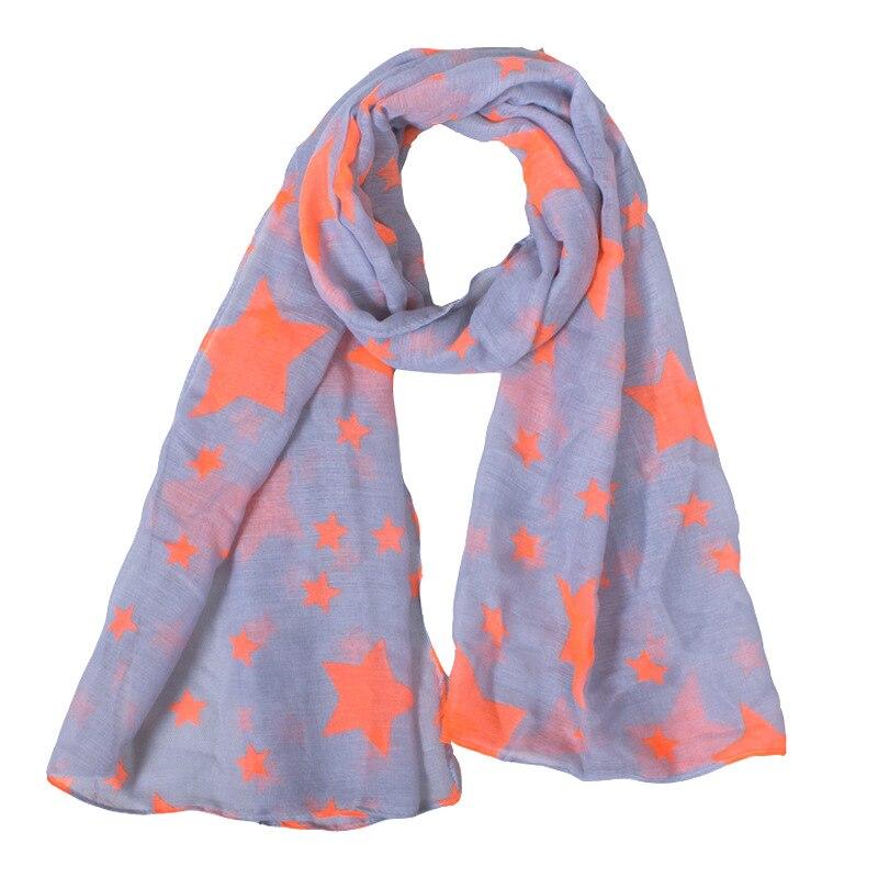 2018 Neue Mode Kid Lange Polyester Grau Und Orange Sterne Drucken Warme Schal 140*55 Cm Neueste Technik