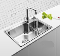 450X390x200mm 304 Stainless Steel Kitchen Sink Brushed Single Bowl Slot Vegetable Trough Tank With Faucet Basket