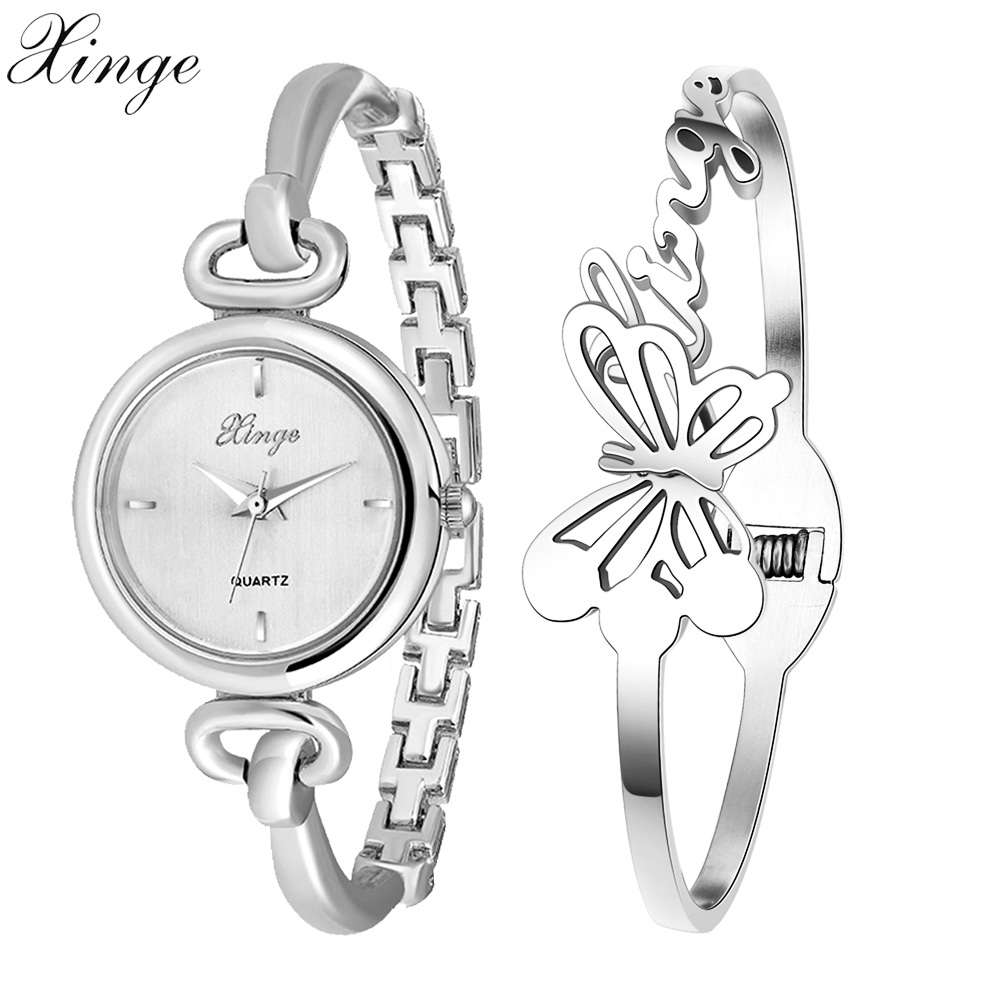 Xinge Famous Brand Watches Women Rose Gold Silver Butterfly Bracelet Wristwatch Set Ladies Casual Female Clock Dress Watches xinge watch women brand rose gold white women japan movt big watches bracelet wristwatch set dress women ladies quartz watches