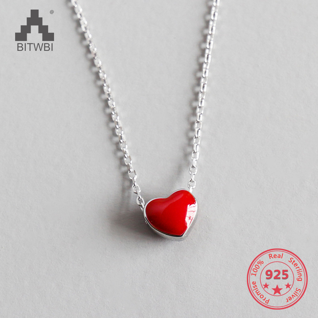 7b99d9f5c54ce 925 Sterling Silver Necklace Women Fashion Collier Cute Tiny Red Glaze Heart  Pendant Necklace For Women