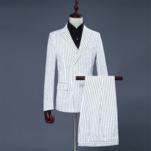 Men's White Black Stripes Grooms Groomsmen Dresses Double Breasted Performance Suits Hosting Masters Studios Theme(China)