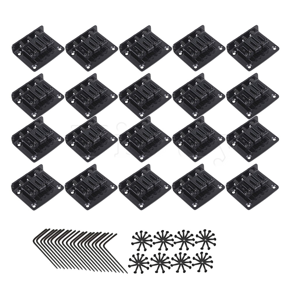 Yibuy 20pcs Zinc Alloy 3 String Electric Cigar Box Guitar Bridge Tailpiece Black yibuy 5x dobro 6 string tailpiece for echo guitar repair replacement black