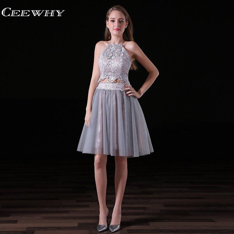 95f91f6ecf8 CEEWHY с открытыми плечами Короткие Выпускные платья с открытой спиной  Кружева Формальное вечернее платье Серый длиной