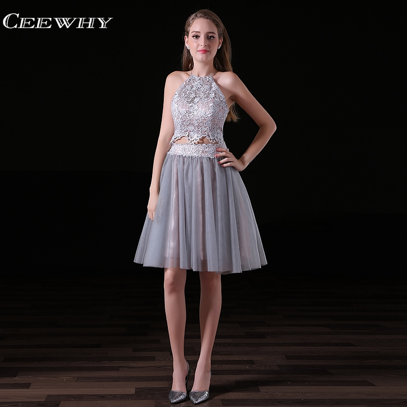 CEEWHY Off Shoulder Short Prom   Dresses   Backless Lace Formal Party   Dress   Gray Knee Length   Cocktail     Dresses   Vestido Coctel