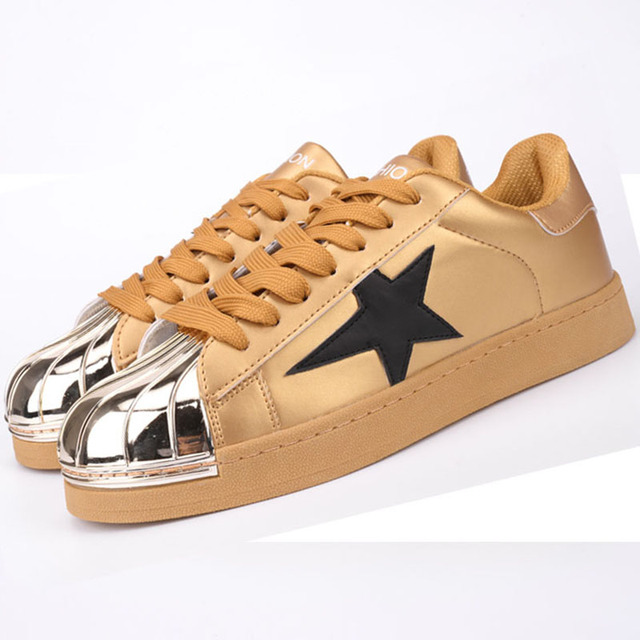 Casual Men Shoes Lace Up Star PU Leather Flat With Comfortable Sport Walking Shoes Breathable Trainers Basket Zapatos Mujer Gold