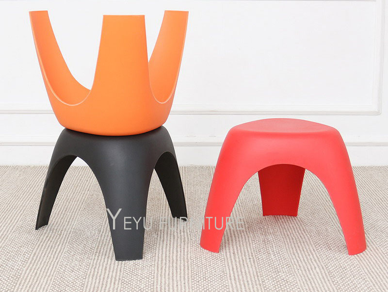 110 19 Minimaliste Design Moderne En Plastique Tabouret Bas Moderne Maison Mode Design Chaussures Tabouret Changeant Colore Empilable Stool 2pcs