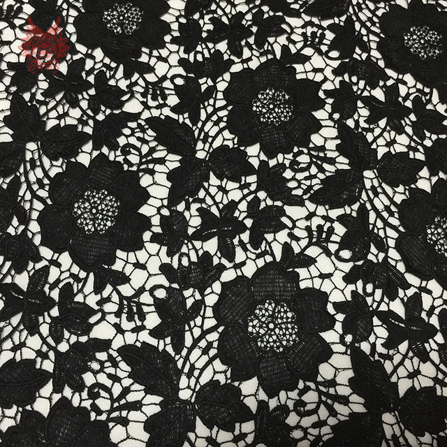 Black off white blue milk fiber super soft guipure lace fabric for dress floral embroidery patchwork cheap fabric telas SP294