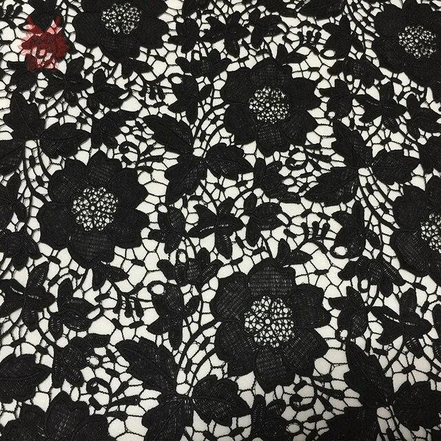 Đen tắt trắng sữa màu xanh sợi siêu mềm guipure vải ren cho trang phục hoa thêu chắp vá giá rẻ vải telas SP294