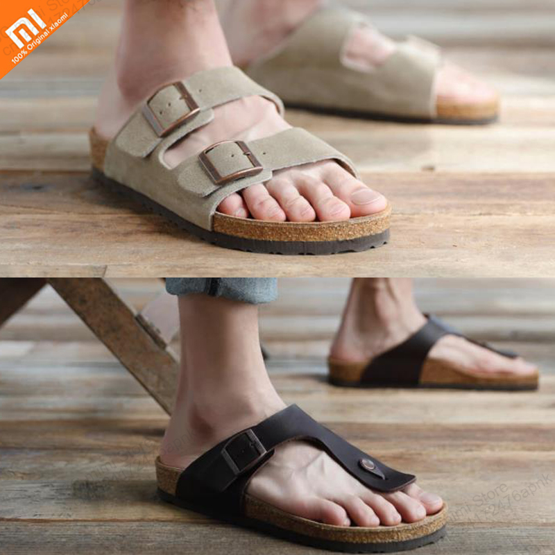 Original xioami 2 wild suede pure cork soft leather sandals slip resistant wear high quality slippers