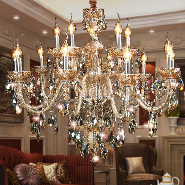Large Fashion Crystal Pendant Light Living Room Crystal Lamp Bedroom Pendant Light K9 Luxury E14 Large New Candle Pendant Lamp