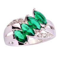Free Shipping Emerald Quartz 925 Silver Ring Size 6 7 8 9 10 11 Delicate New Fashion Jewelry 2015 Gift For Women Wholesale