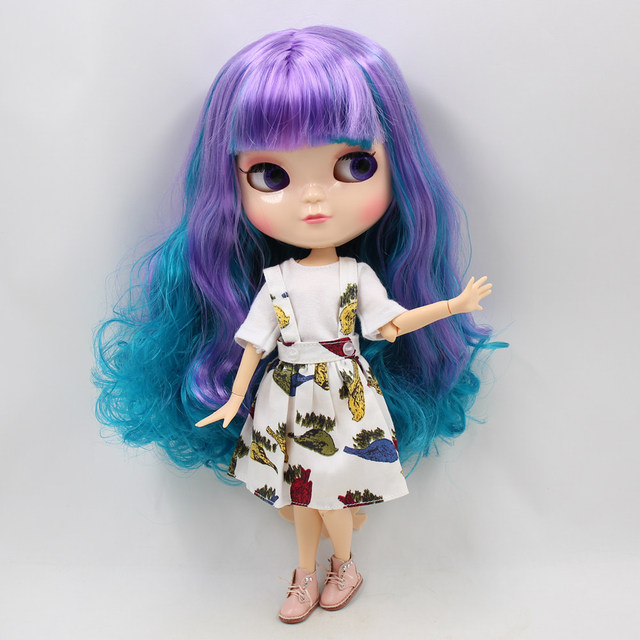 ICY 1/6 nude doll small chest Joint body natural skin purple mix green hair with bangs/fringe DIY gift 30CM NO.230BL4302/7216