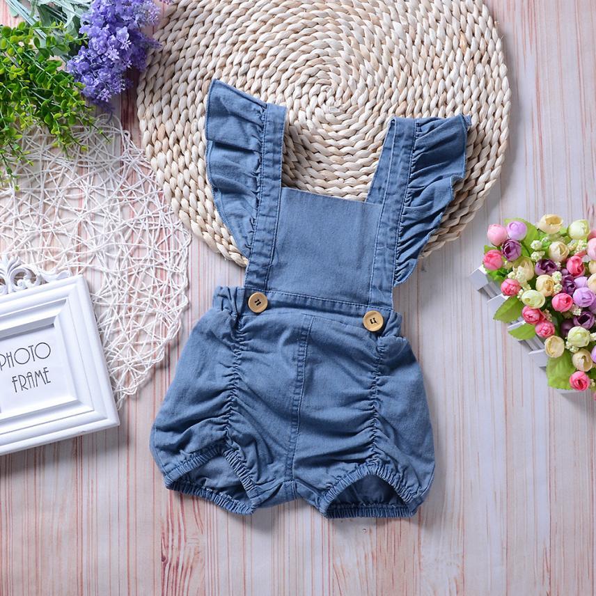 6 м-18 м Модная одежда для детей, Детская мода для девочек Джинсовые комбинезоны оборками сплошной комбинезон без рукавов женский пляжный кос... ...