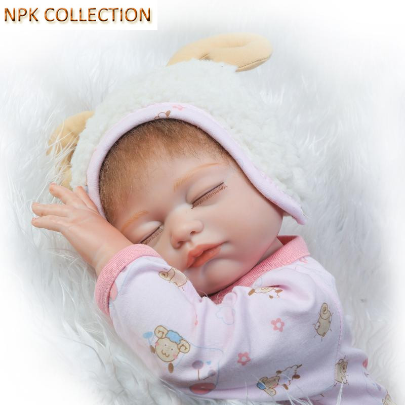 NPKCOLLECTION Silicone Reborn Dolls Babies Girl Doll for Children,18 Inch Full Body Silicone Reborn Dolls with Pacifier Clothes