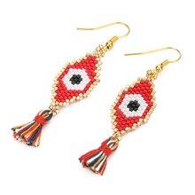 Shinus Wholesale 10 Pairs/lot MIYUKI Turkish Lucky Evil Eye Earrings For Women Etsyhandmade Beautiful Summer Jewelry DIY Bijoux
