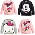 Venta caliente Niños de dibujos animados niños niñas abrigo de manga larga t-shirt ropa casual algodón del gatito gris rosa negro mickey mouse envío gratis
