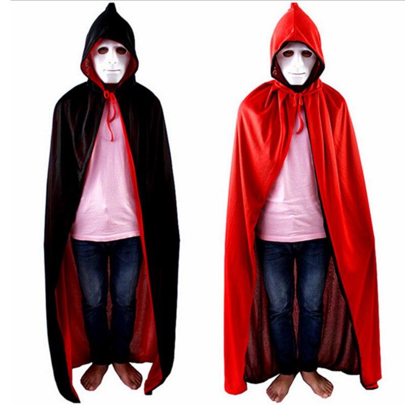 hombre adulto de halloween diablo fantasma vampiro traje largo de color rojo negro con capucha capas
