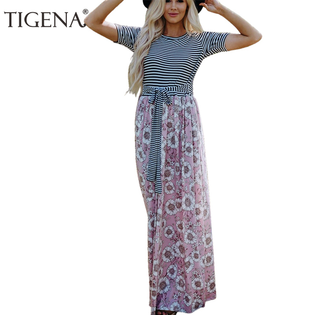 a028caab1ab TIGENA Stripe Floral Maxi Dress Women Summer 2018 Belt Bandage Tunic Boho  Beach Dress Women Long Party Dress Sundress Robe Femme