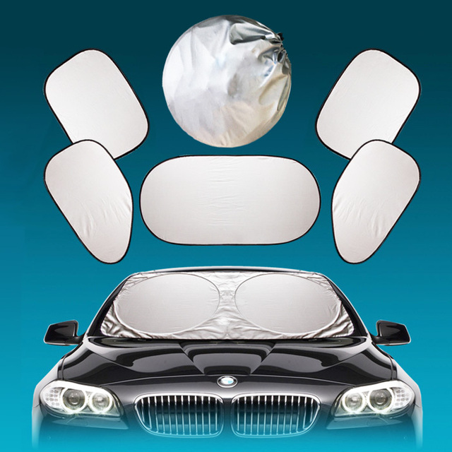 Car sunshade baffle silver car sunshade shade Sunscreen insulation sun block with hand carry bag piece all six silver layer