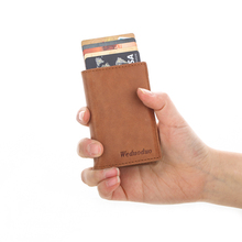 Wholesale Men Genuine Leather Card Holder Credit Anti-theft Id Holders Automatic Pop Up Case Mini Wallet
