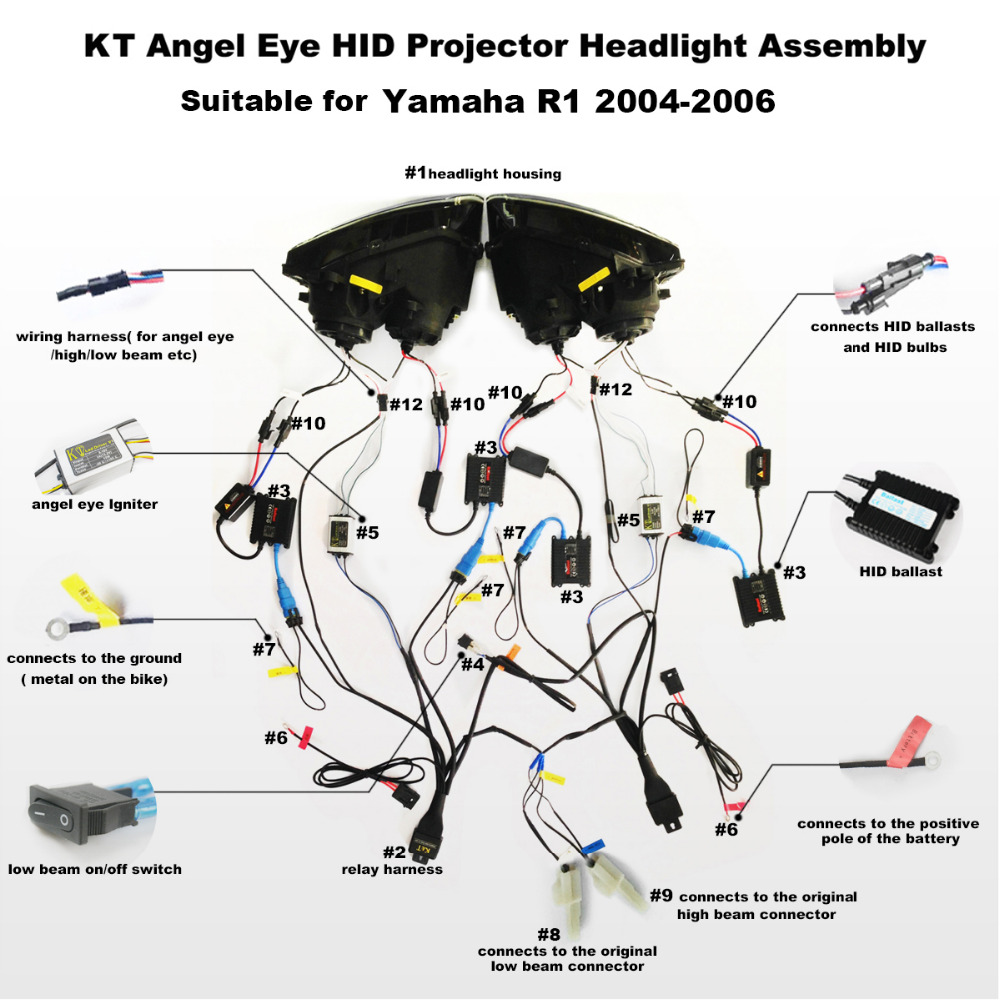 2006 Yamaha Yzf R1 Wiring Diagram Simple Electrical Motorcycle Kt Headlight For 2004 Led Angel Halo Eye Red Used