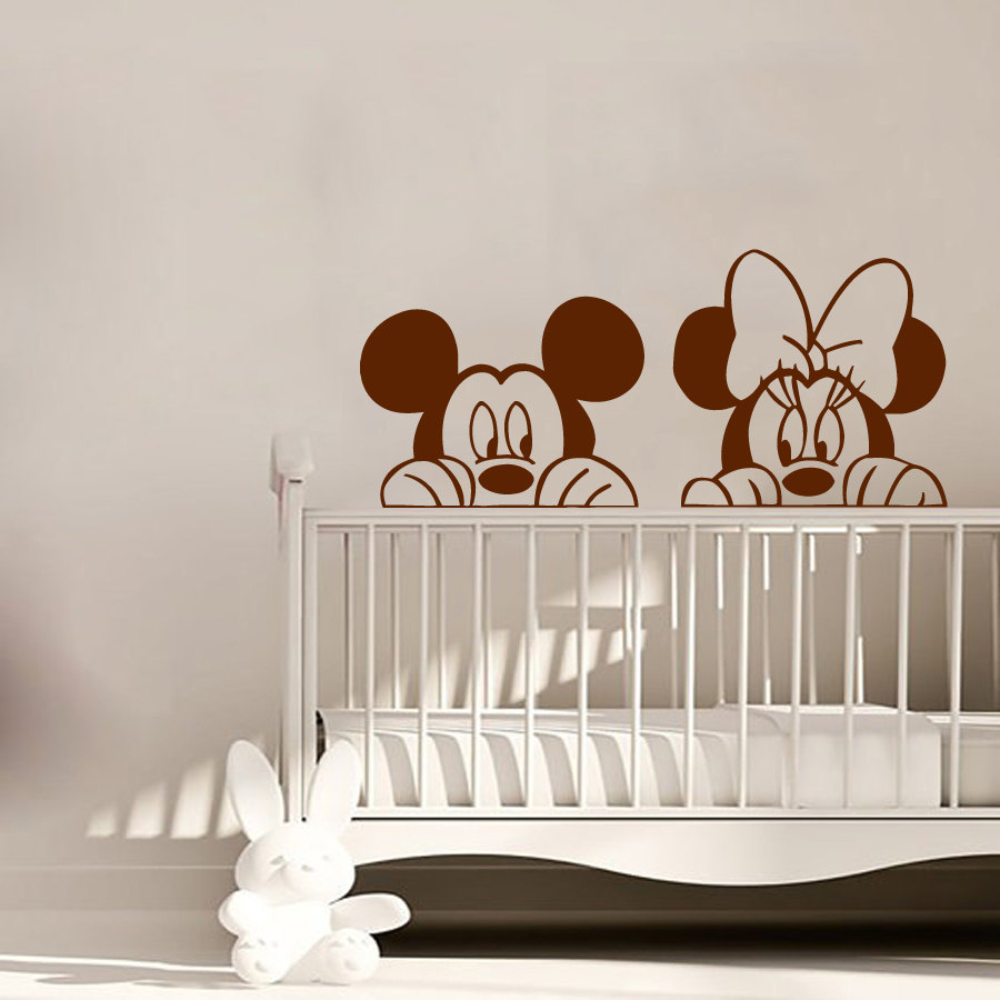 Mickey And Minnie Mouse Head Cute Wall Stickers Home Nursery Kids Bedroom Decorative Vinyl Wall Murals Art DIY Wall Decals W-559