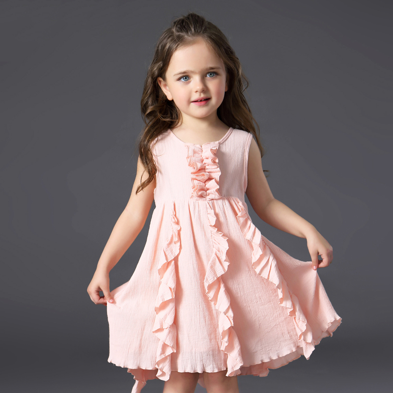 Summer New Girls Cotton Dress Children Clothing 2017 Summer Princess Sundress Vocation Girl Clothes Pink Yellow 2 3 4 5 6 Years children s spring and autumn girls bow plaid child children s cotton long sleeved dress baby girl clothes 2 3 4 5 6 7 years