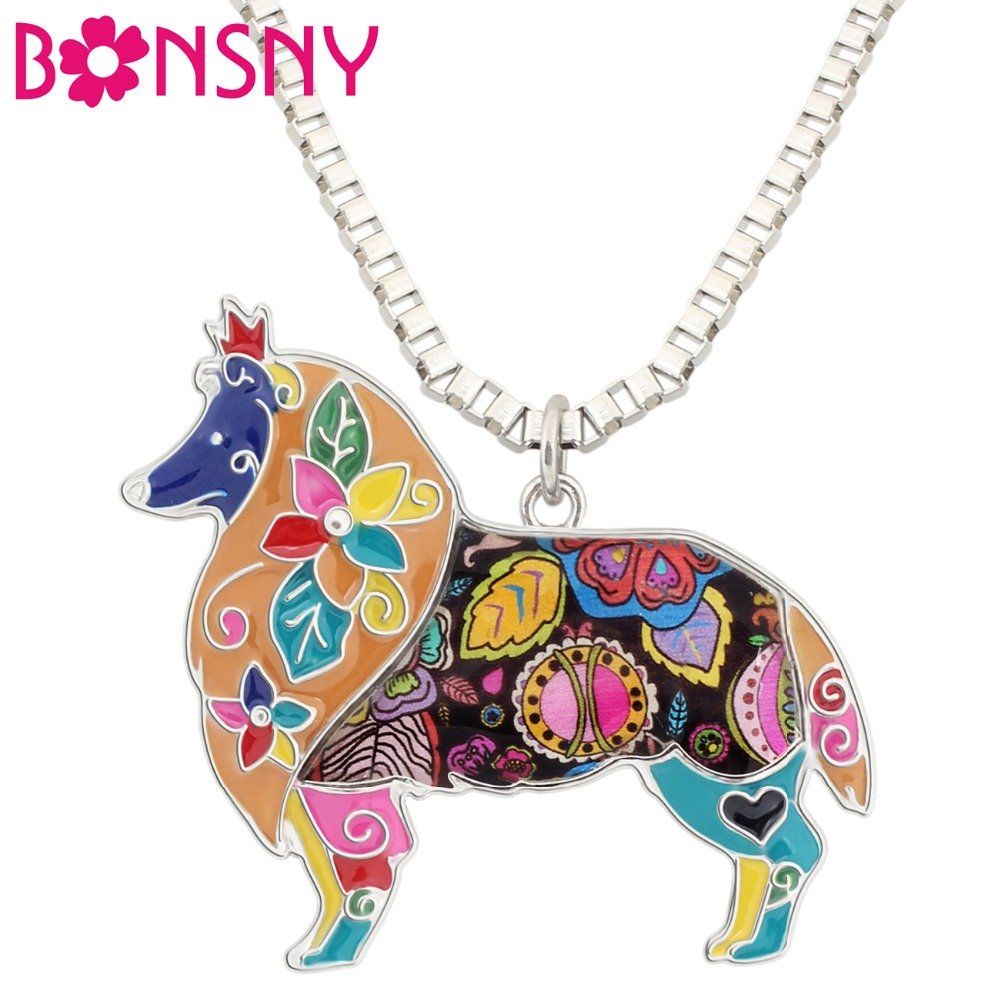 Bonsny Maxi Statement Metal Alloy Border Rough Collie Dog Choker Halsband Chain Collar Pendant 2016 Mode Emalj Smycken Kvinnor