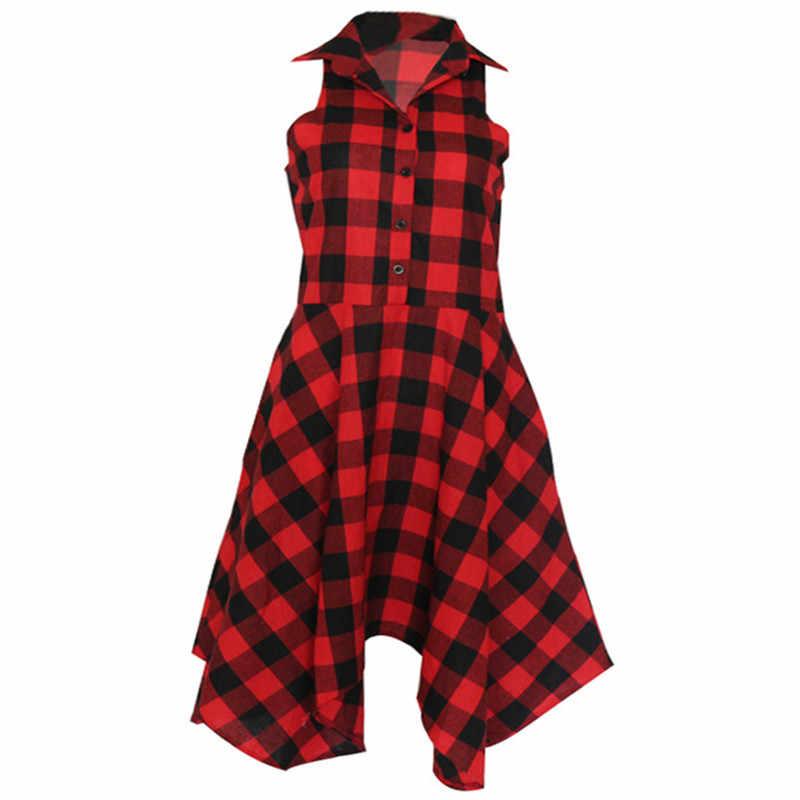 2018 новое классическое Красное и черное клетчатое повседневное летнее платье без рукавов, приталенное платье-рубашка, Пляжное праздничное платье