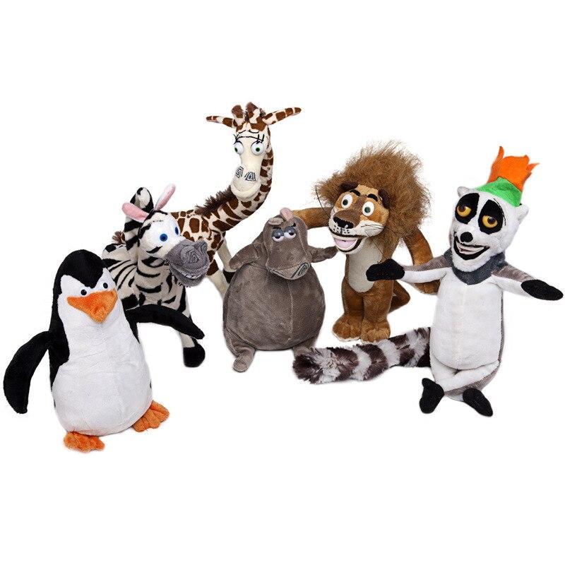 "6PCS/SET Movie Madagascar Stuffed Plush Toys 8 14"" Lion"