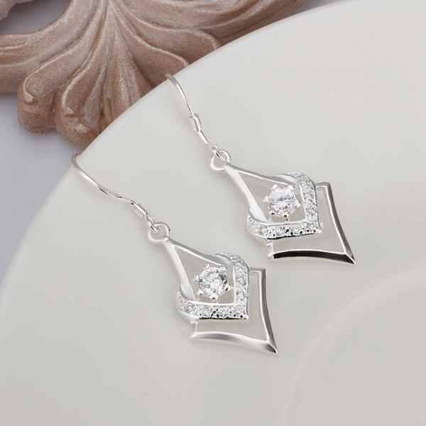 bridal jewelry Silver color exquisite gorgeous fashion charm Women wedding caring dense set zircon silver earrings E444