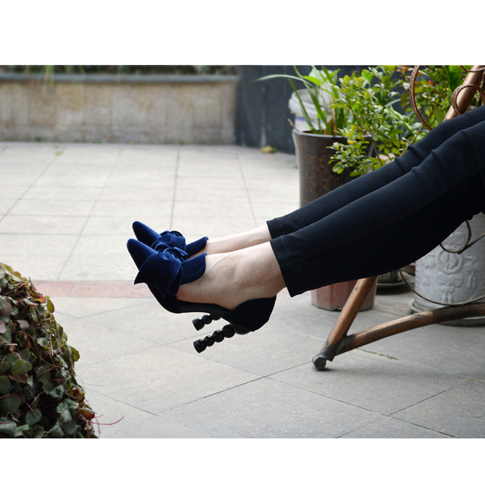 Navy Blue Brand Designer Women Shoes Pearl High Heel Pointed Toe Velvet Bow 9 cm Stiletto Party Shoes Pumps 34-43 YT02 MUYISEXI
