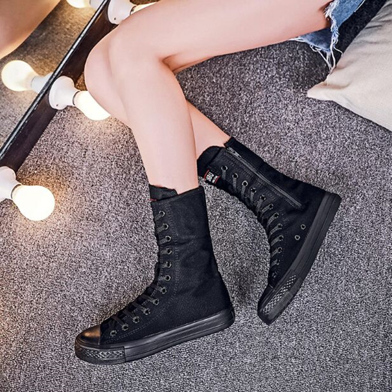 100% QualitäT Plus Szie 35-43 2018 Mode Frauen Schuhe Leinwand Lace Up Zip Knie Hohe Schuhe Frauen Stiefel Flache Beiläufige Hoch Punk Schuhe Novel (In) Design;