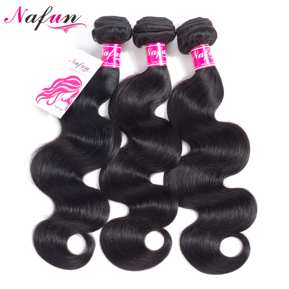 NAFUN Body Wave Bundles Human Hair Bundles Peruvian 8-30 Inches Bundles Natural Color Non-Remy Hair Extensions Free Shipping