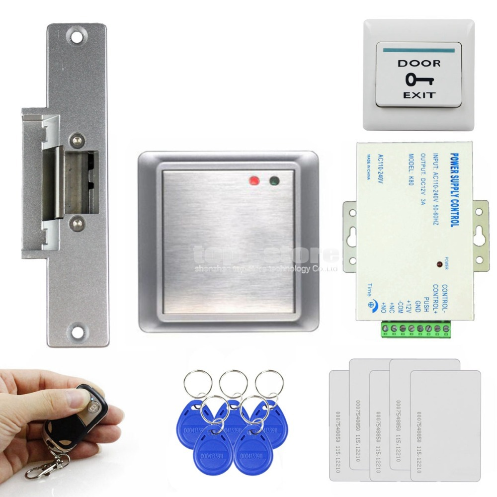 DIYSECUR Strike Lock Waterproof Remote Control 125KHz Rfid ID Card Reader Without Keypad Access Control System Kit 81678A waterproof touch keypad card reader for rfid access control system card reader with wg26 for home security f1688a