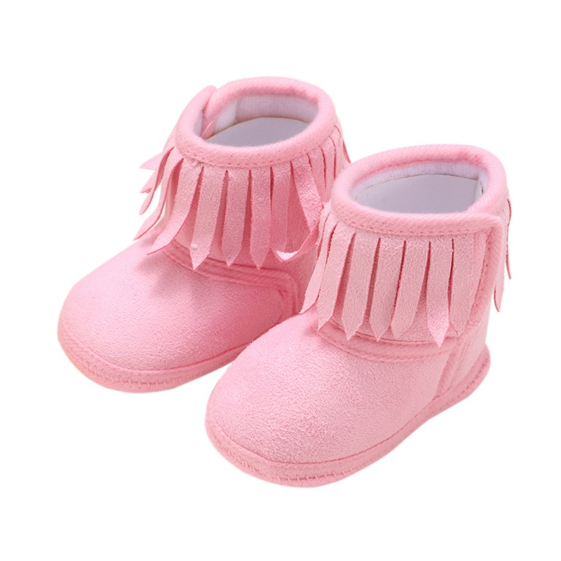 Infant Baby Girls Soft Soled Anti-slip Boots Booties Baby Boots Girl Boy Kids Solid Fringe Shoes For 0-18 Months Baby