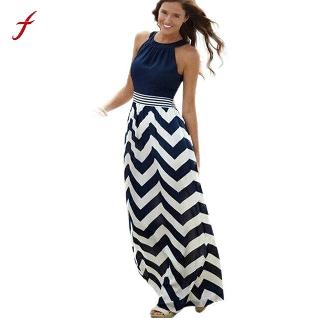 edb1804d45db € 11.27  Nuevo vestido de verano para mujer, Vestido largo de verano para  fiesta de noche BOHO, vestido de verano con rayas y cuello redondo para ...