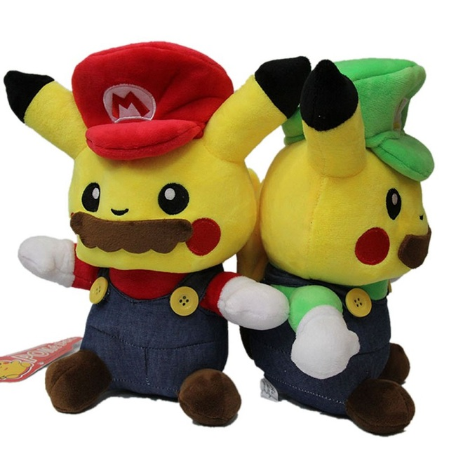 25cm Pokemon Pikachu Plush Toys Pikachu Cosplay Super Mario Louis Stuffed Plush Dolls Toys Gift For Children