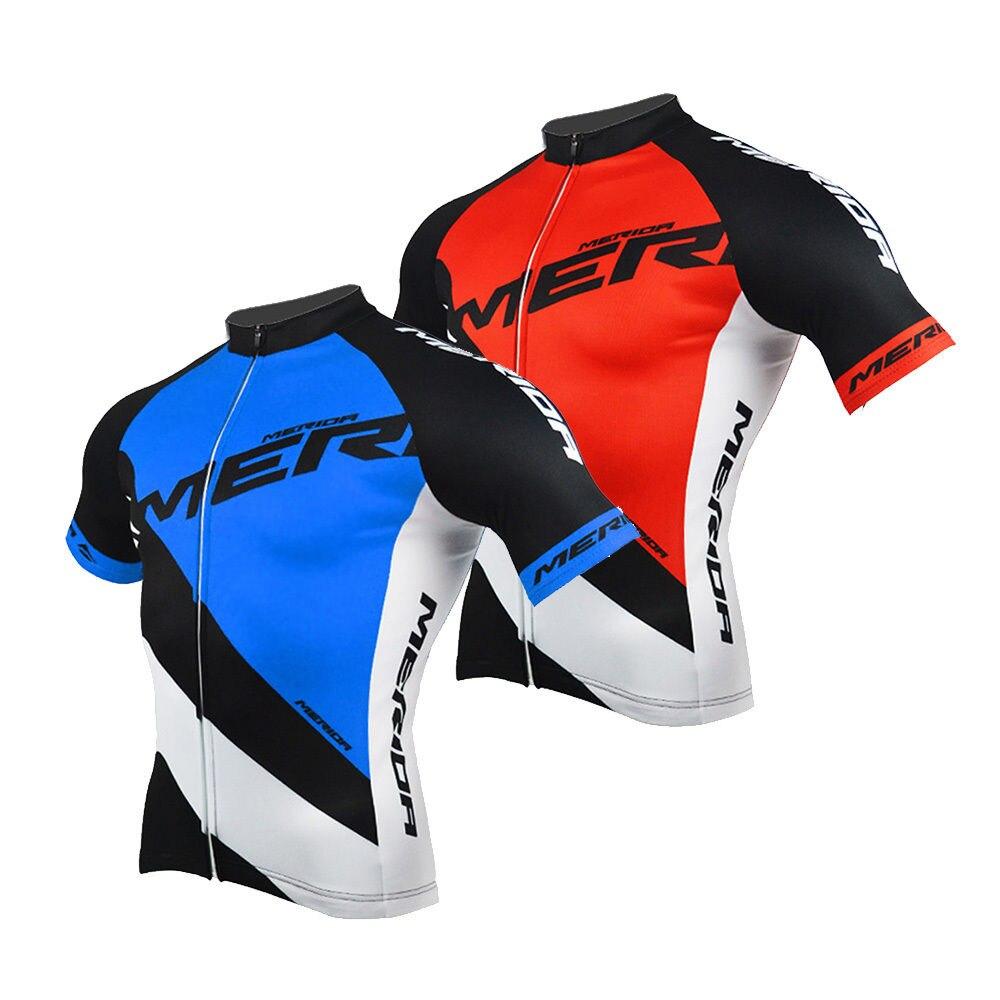 Prix pour Merida Vélo Jersey Hommes de Vélo Réfléchissante Cycle Jersey Chemises Top Bleu/Rouge