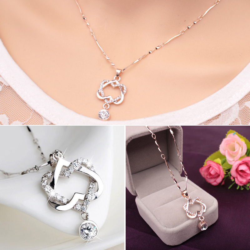 Fashion Crystal Love Heart Necklace Vintage Double Heart Necklaces&Pendants For Women Charm Jewellery Shellhard Collar Gift