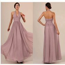 Halter Pink Chiffon Bridesmaid Dresses Ruffles Backless Sleeveless Floor Length A line Plus Size Formal Gowns