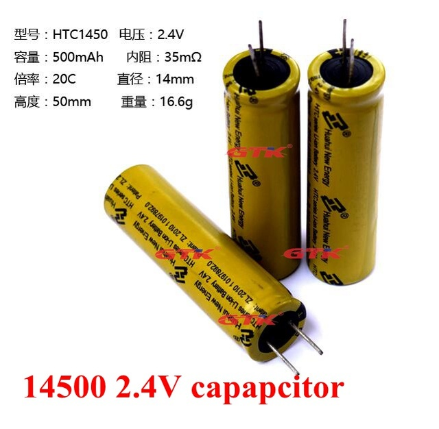 US $48 0 |10pcs LTO 14500 2 4v 500mAh Lithium titanate battery cell 20C  capacitor for diy pack power tool long cycle life fast chage disch-in