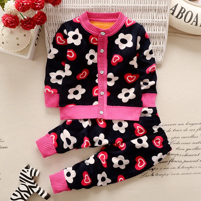 Autumn Winter Baby Girls Boys Kids Infants Cartoon Children Thermal Velvet Jackets Cardigan Sweaters+Pants Clothing Sets S3901