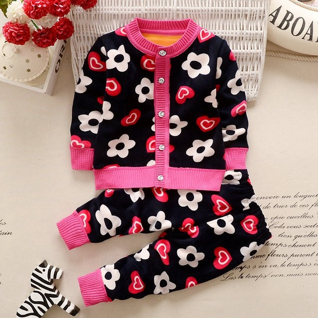 Autumn Winter Baby Girls Boys Kids Infants Cartoon Children Thermal Velvet Jackets Cardigan Sweaters+Pants Clothing Sets S3901