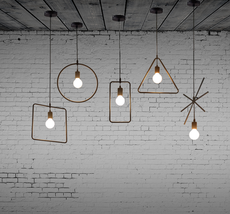 ФОТО Free shipping 5 pcs Nordic restaurant Coffee retro shop Pendant Lights bar loft Iron Pendant Lamp 2D geometric character lamps