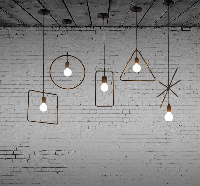 Free Shipping 5 Pcs Nordic Restaurant Coffee Retro Shop Pendant Lights Bar  Loft Iron Pendant Lamp 2D Geometric Character Lamps