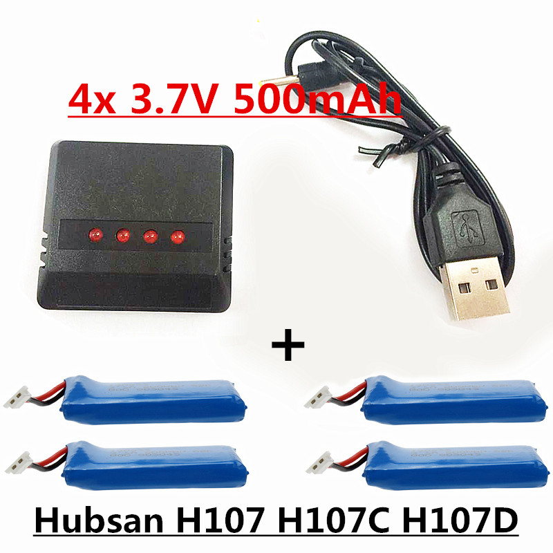 4pcs 3.7V 500mAh battery Drone RC Lipo battery and  4 in 1 charger for FPV Quadcopter Hubsan X4 H107 H107L H107C H107D