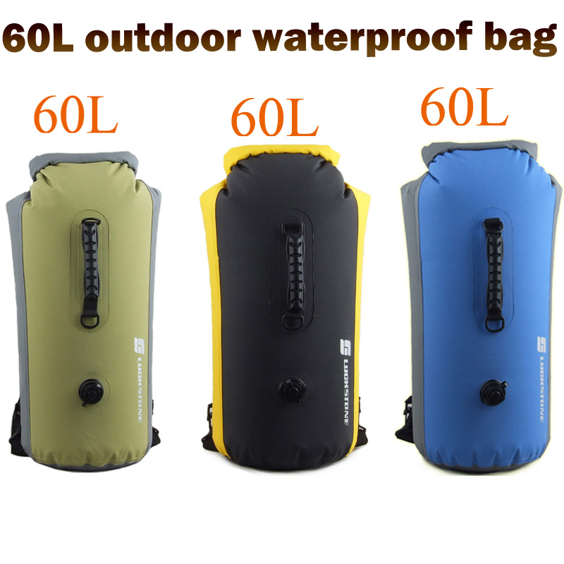Lucky stone 60L PVC sacs de rafting en plein air étanche natation sac à dos gonflable canoë Camping à la dérive kayak plongée poche sèche