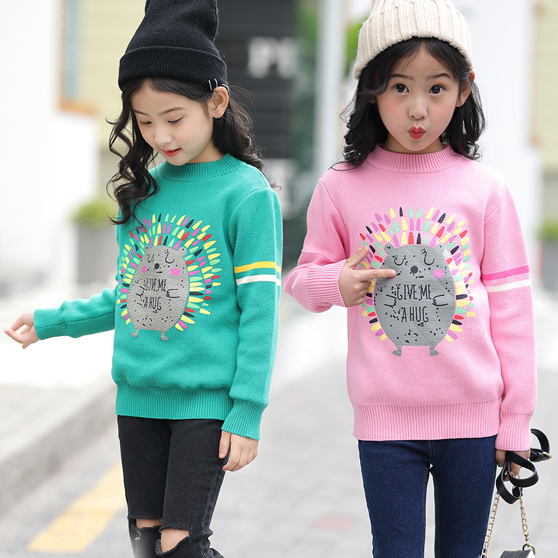 2018 Teenage Girls Knitted Sweaters Kids Cotton Long Sleeve O-neck School Uniform Kids Clothes Winter Baby Girls Sweaters 13 14 bear leader girls dress 2018 winter pullover knitted sweaters ball gown dress long sleeve outerwears o neck kids knitwear 3 7y